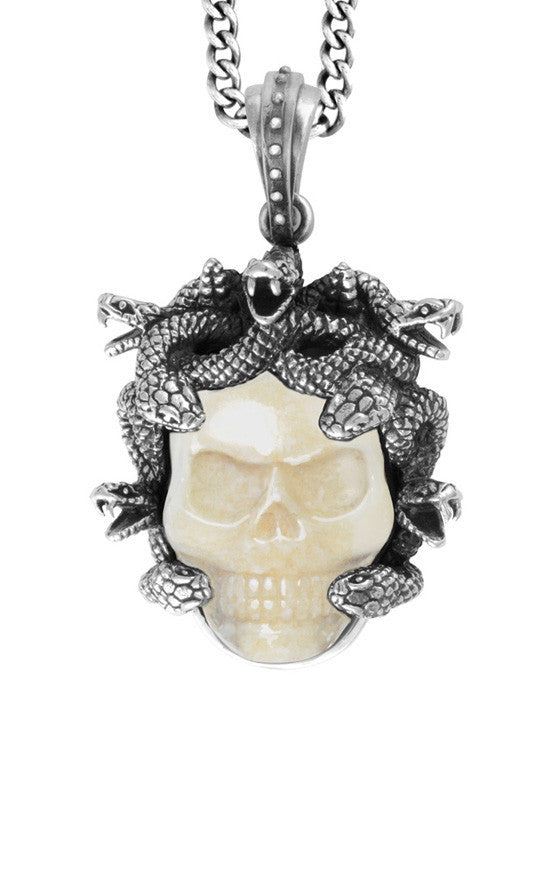 Medusa Pendant with Carved Fossilized Ivory Skull