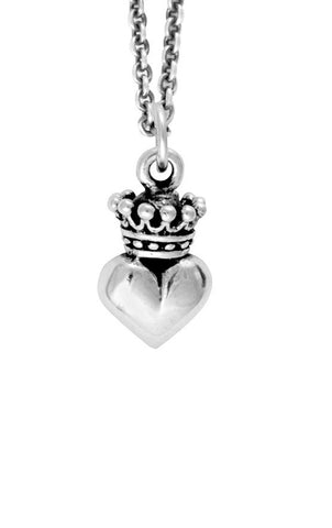 Micro Crowned Heart Pendant on Micro Rolo Chain