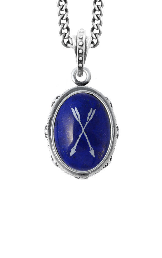 Oval Bezel Pendant with Etched Arrows on Lapis Stone