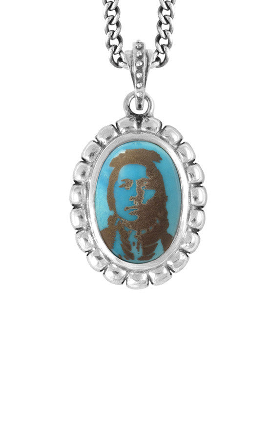 Pendants | Multi Skull Bezel Pendant w/ Etched Native Chief on Turquoise Stone