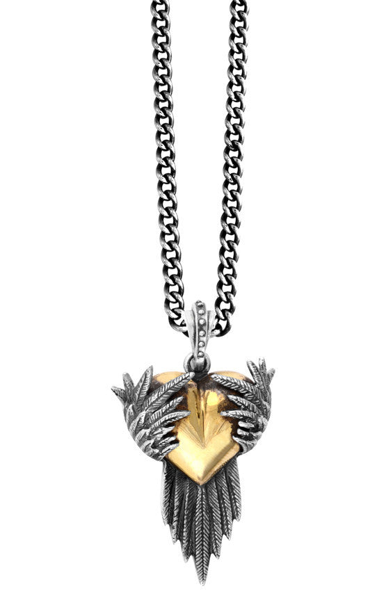 King Baby Silver Raven Pendant with Gold Alloy Heart