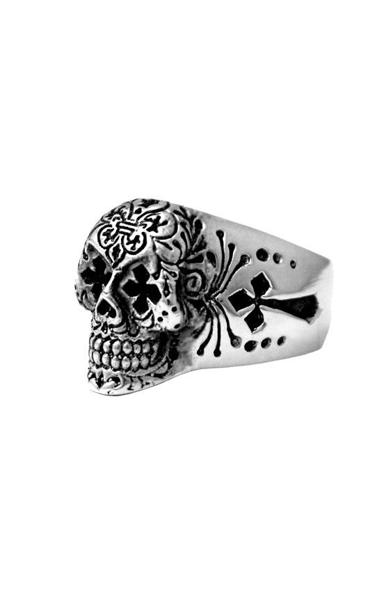 king baby men's day of the dead silver skull ring