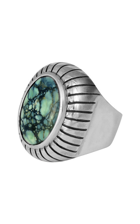 Arrayed Cabochon Ring with Top Hat Spotted Turquoise