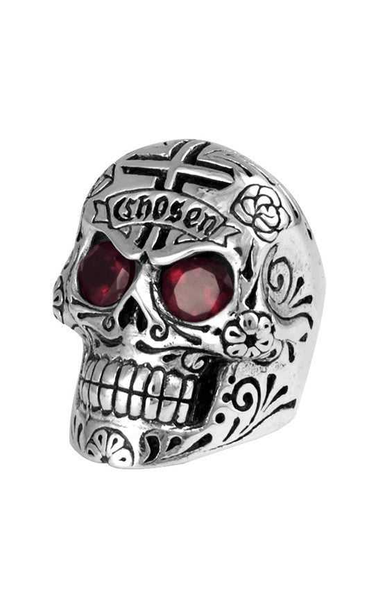 Large Skull Ring w/Chosen Cross Detail and Garnet Eyes