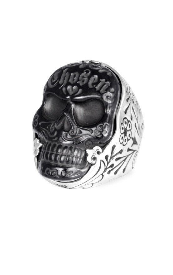Carved Jet Chosen Skull Ring