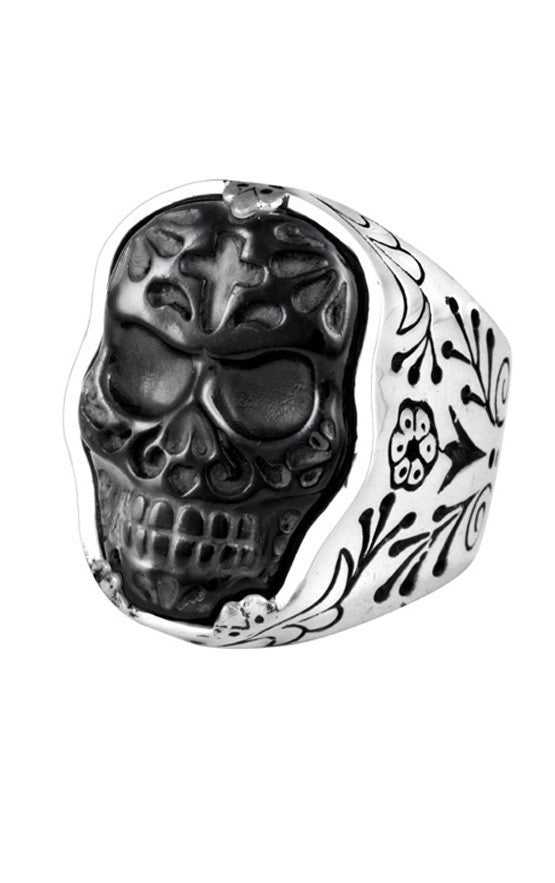 Carved Jet Day of the Dead Skull in Silver Frame Ring