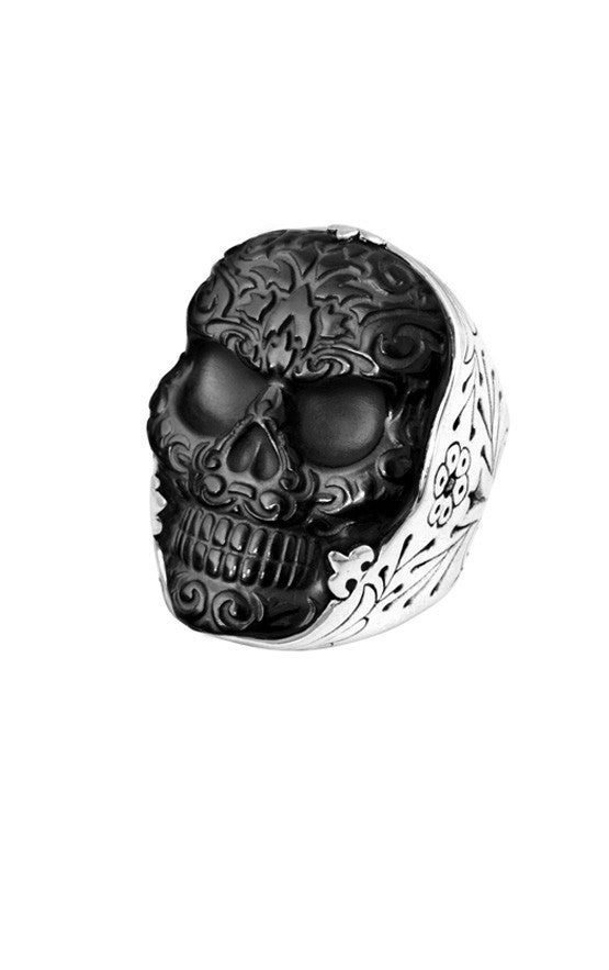 Carved Jet Baroque Skull Ring