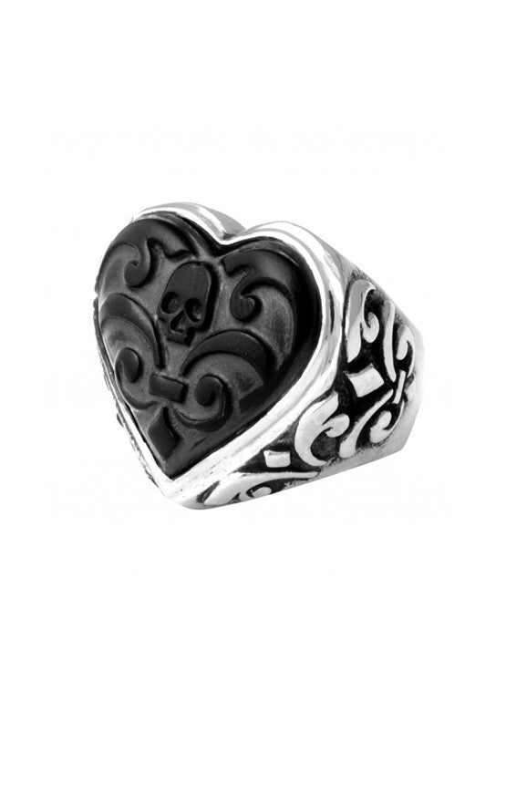 Carved Jet Heart Ring