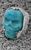Turquoise Classic Skull Ring