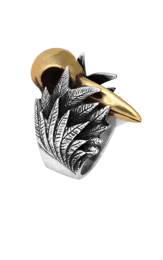 King Baby Raven Skull Silver and Alloy Ring