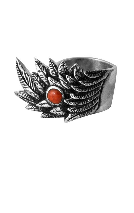Raven Wing Ring w/ 6mm Coral Cabochon