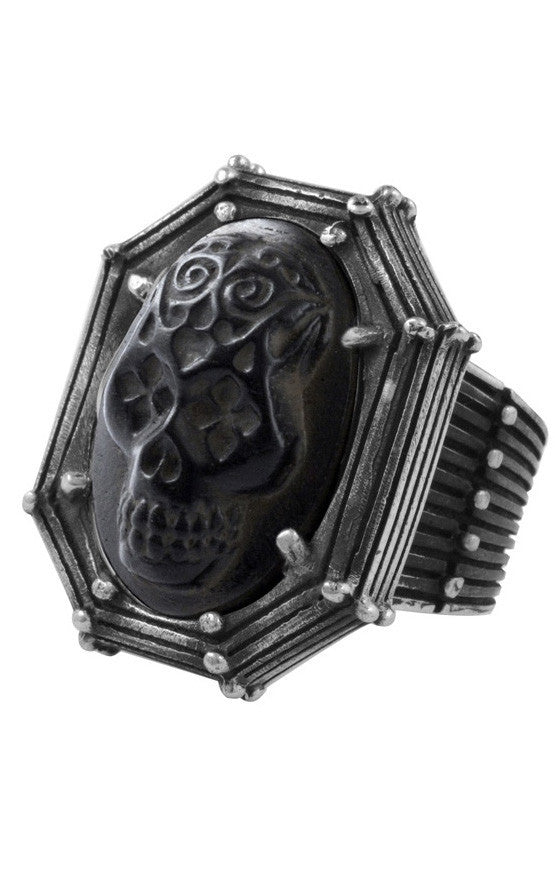 Jet Day of the Dead Skull in Rivet Frame Ring