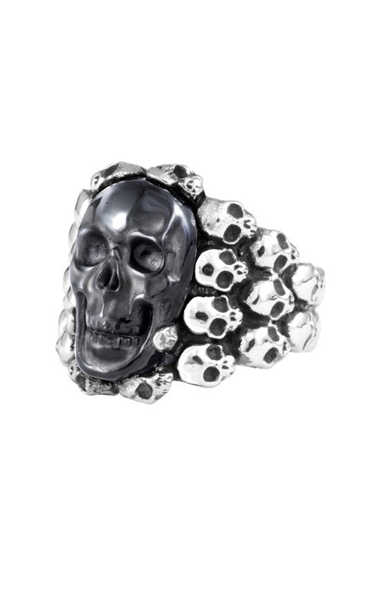 Carved Obsidian Multi Skull Ring