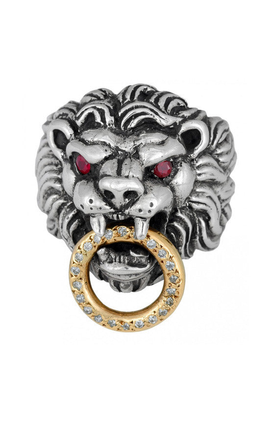 Lion's Head Ring w/18K Toggle, Diamonds w/Ruby Eyes