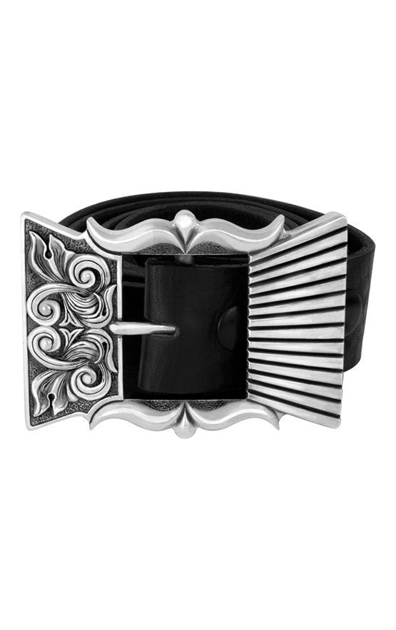 Engraved Scroll Garrison Concho Buckle