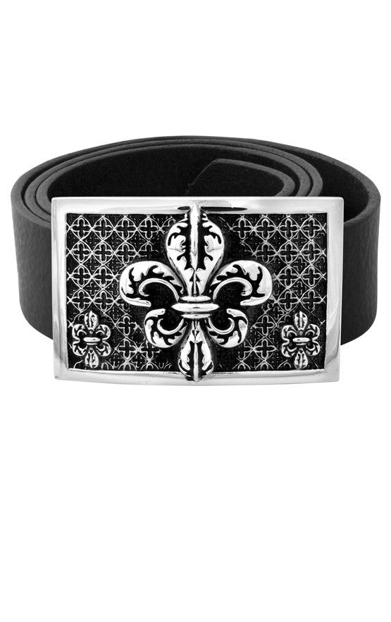 High Polished Alloy Fleur De Lis Relic Buckle
