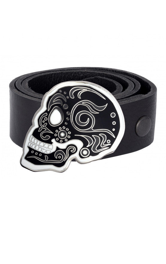 Black Day of the Dead Skull Buckle
