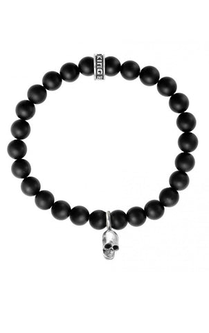 Onyx Bead Bracelet with Silver Skull