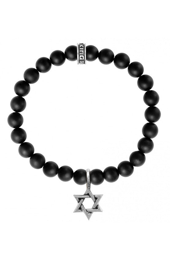Onyx Bead Bracelet w/Star of David