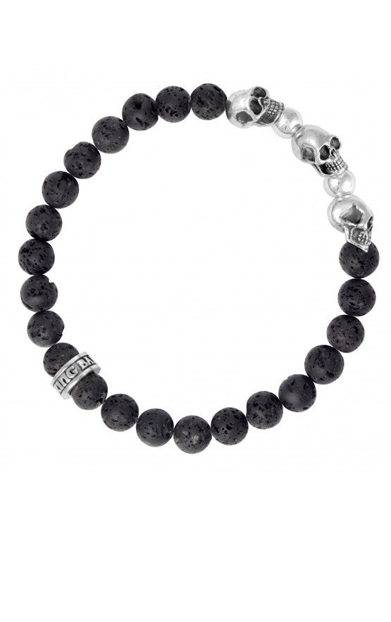 8 mm Lava Rock Bead Bracelet w/ 3 Skulls and 2 Silver Beads