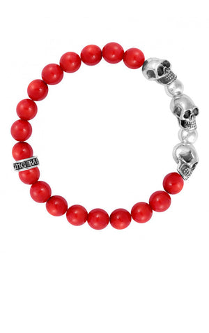 8 mm Red Coral Bead Bracelet w/ 3 Skulls and 2 Silver Beads