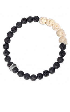 8 mm Lava Rock Bead Bracelet w/ White Bone Skull Bridge