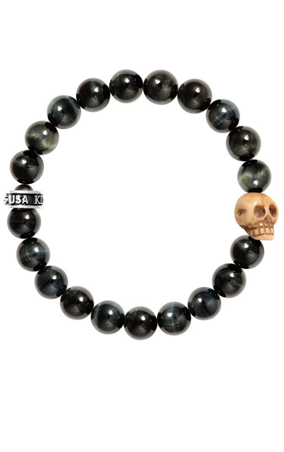 10mm Blue Tiger Eye Bracelet w/Bone Skull