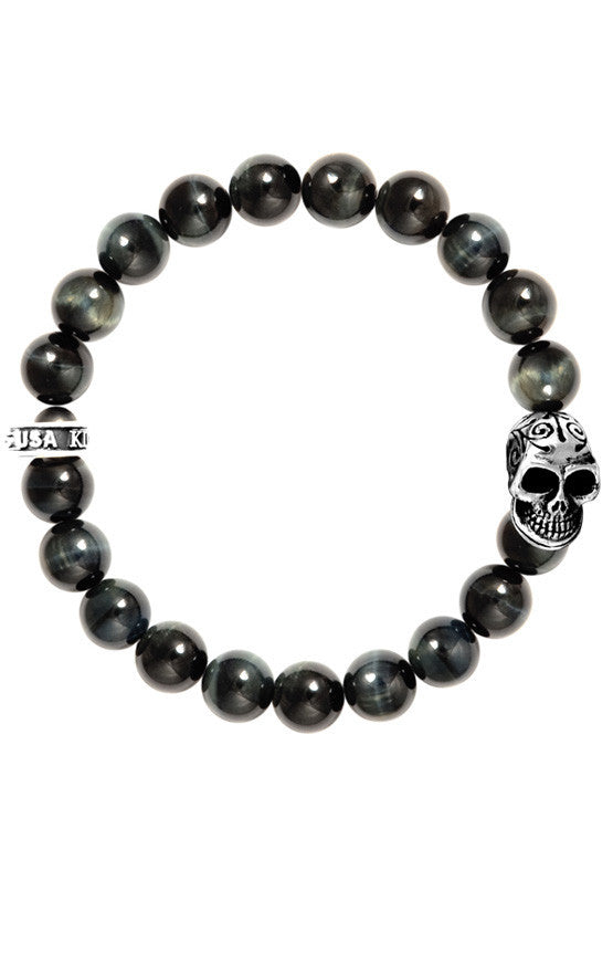 10mm Blue Tiger Eye Bracelet w/Day of the Dead Skull