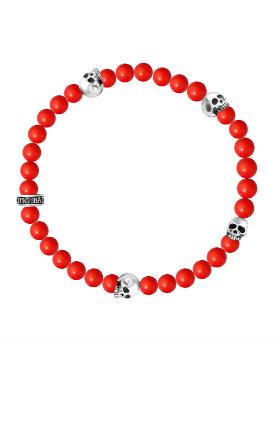6mm Red Coral Bead Bracelet w/ 4 Skulls