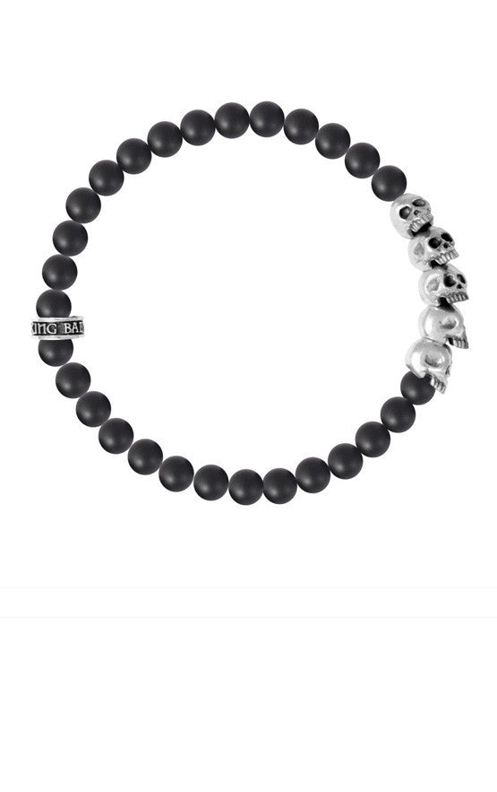 6mm Onyx Bead Bracelet w/ Skull Bridge