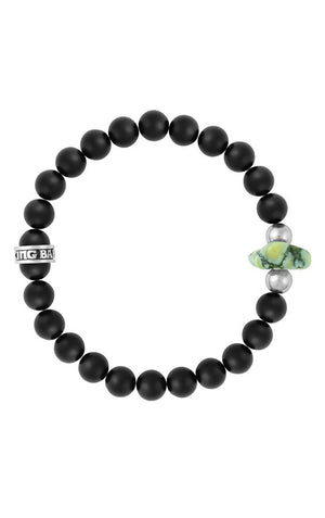 8mm Onyx Bead Bracelet with Natural Top Hat Spotted Turquoise