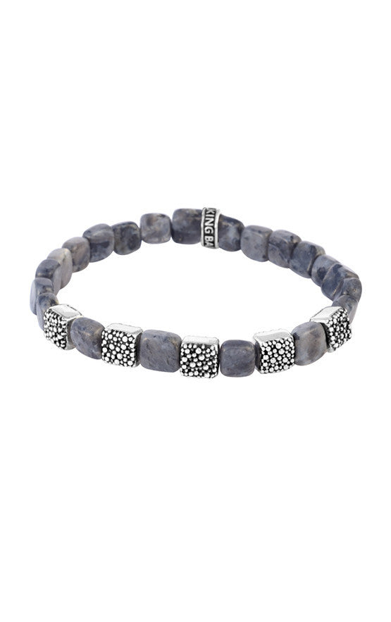 7mm Square Labradorite Bead Bracelet with Five Stingray Beads