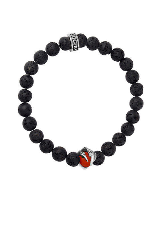 8mm Lava Rock Bracelet w/ Raven Claw Red Coral Bead
