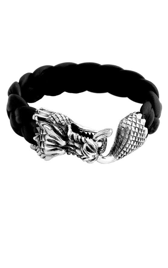 Leather Bracelet w/Large Dragon Clasp