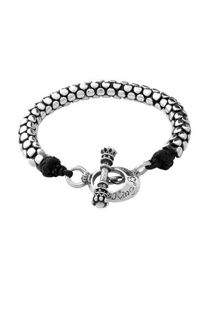 Leather and Silver Snake Link Bracelet