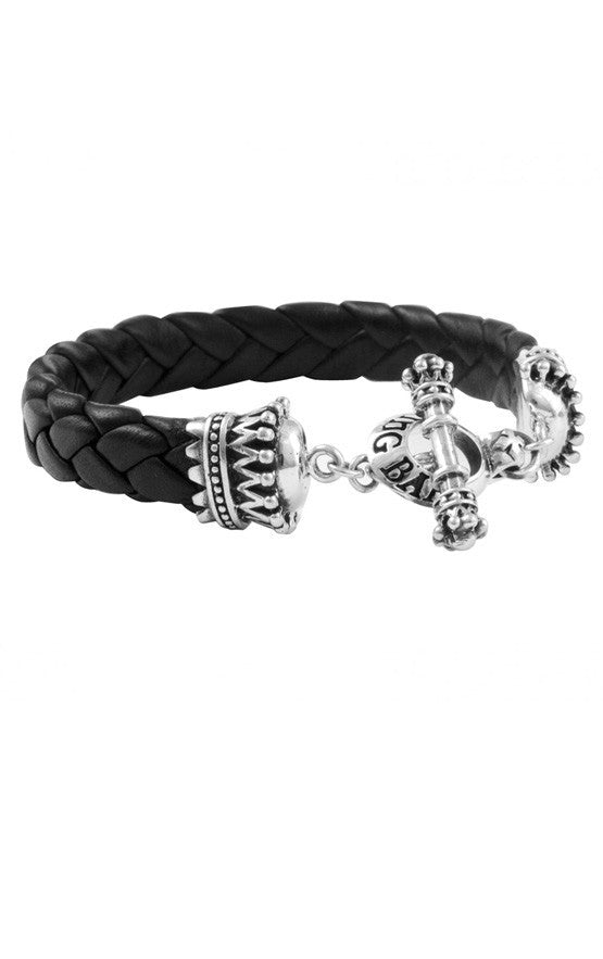 Small Black Leather Bracelet w/Crown and Toggle