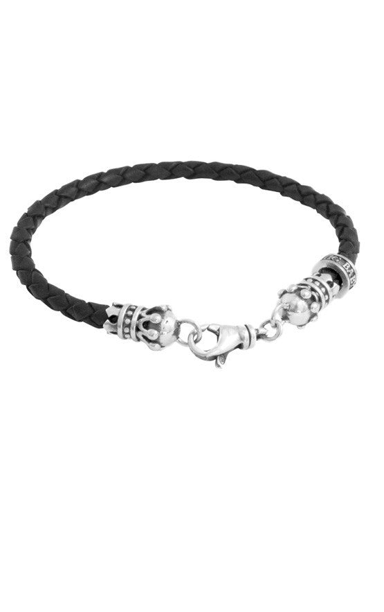Thin Leather Braided Crown Bracelet