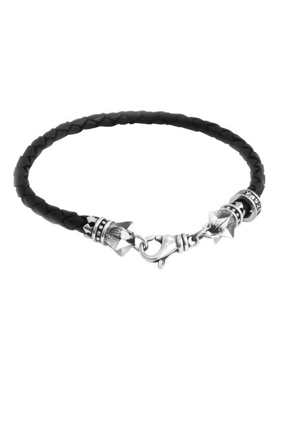 Thin Leather Braided Stars Bracelet