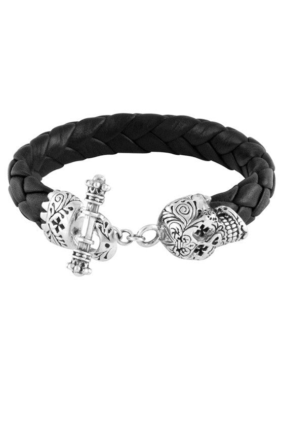 Leather Bracelet w/Small Day of the Dead Skull Clasp