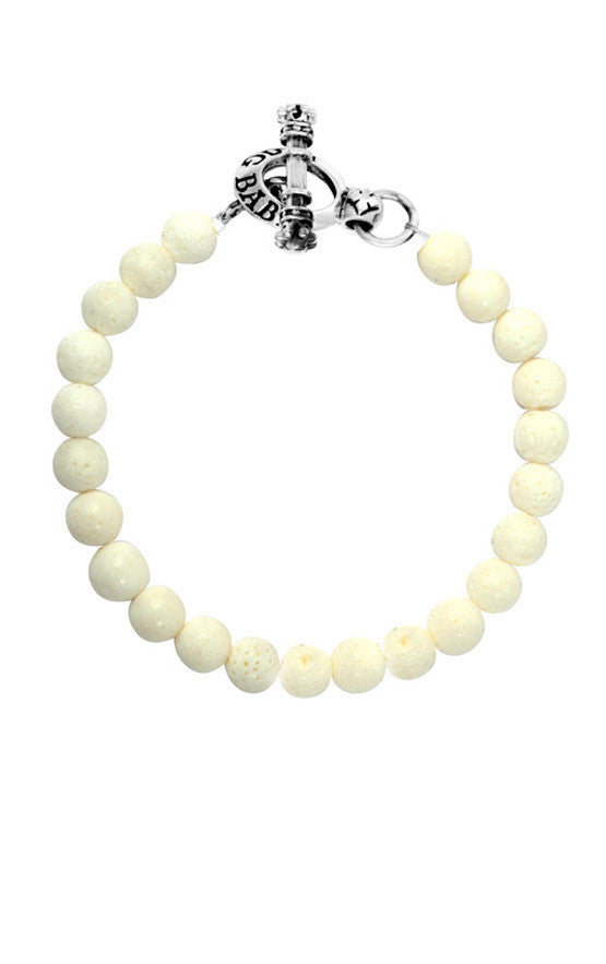 8mm White Coral Bracelet w/Toggle Clasp