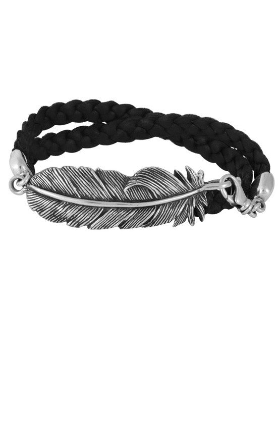 king baby silver feather bracelet