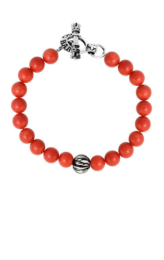 8mm Red Coral Bead Bracelet w/ 10mm Feather Silver Bead