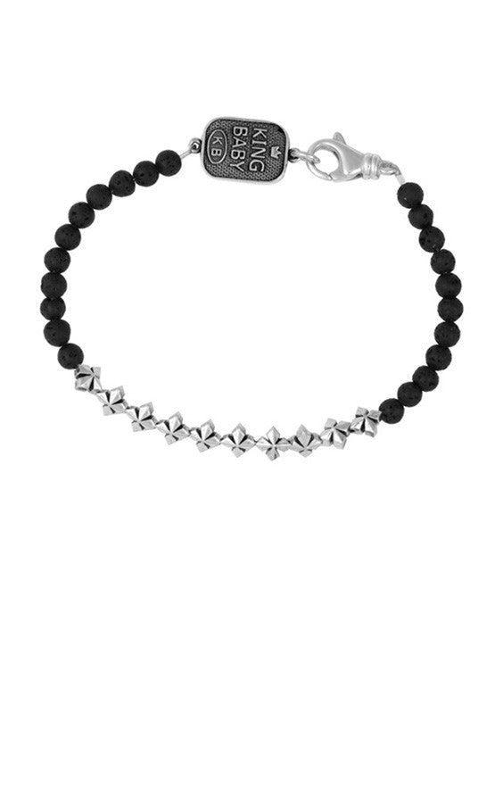 3mm Lava Rock Bead Bracelet w/ MB Crosses