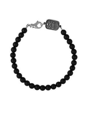 6mm Onyx Bead Bracelet with Logo Clasp