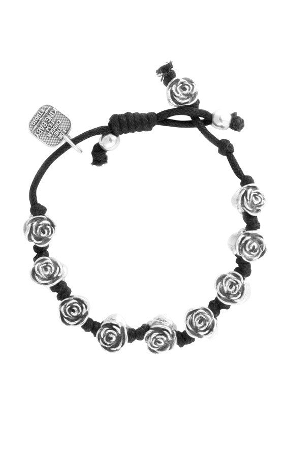 Knotted Cord Bracelet w/Roses