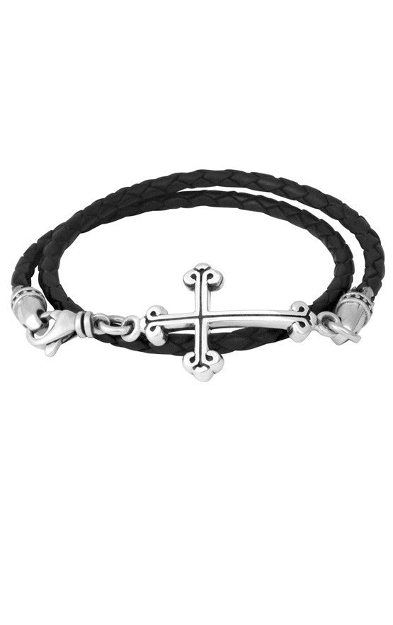 king baby men's leather and silver cross bracelet