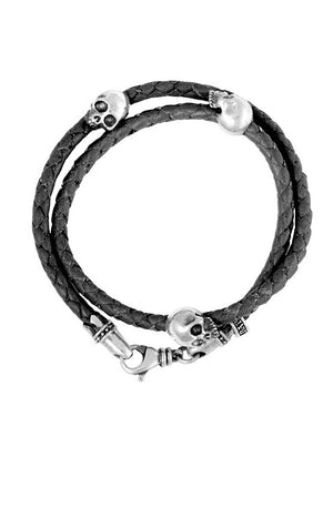 Thin Braided Double Wrap Black Leather Bracelet w/ Three Hamlet Skulls