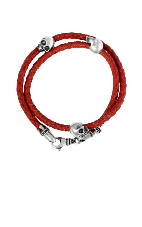 Thin Braided Double Wrap Red Leather Bracelet w/ Three Hamlet Skulls