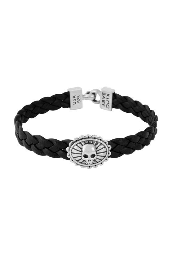 Black Braided Leather Bracelet with Skull Concho