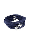 Multi-Wrap Indigo Silk Bracelet with MB Crosses